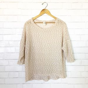 Anthropologie Tops - Francesca's Gold Metallic Open Knit Blouse